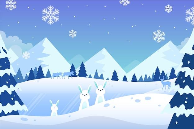 Carta da parati paesaggio invernale disegnato a mano