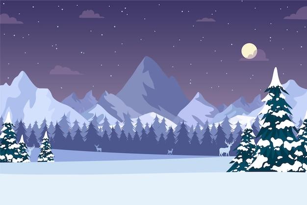 Paesaggio invernale disegnato a mano