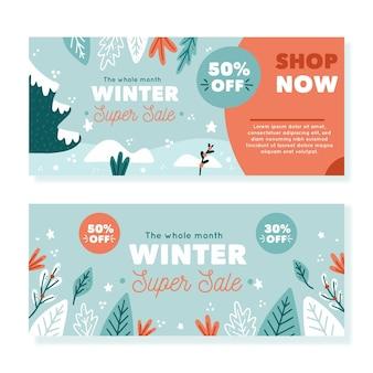 Modello di banner di vendita invernale disegnato a mano