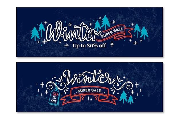 Banner di vendita invernale disegnati a mano