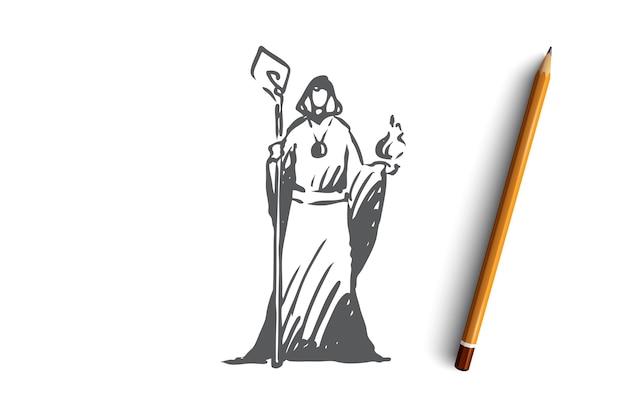 Procedura guidata disegnata a mano in uno schizzo di concetto di abito di fantasia