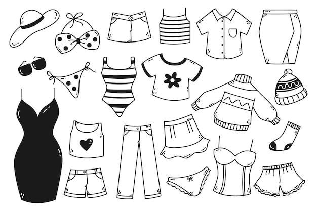 Insieme di doodle di abbigliamento donna disegnato a mano isolato su sfondo bianco