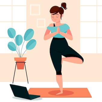 Donna disegnata a mano che fa yoga
