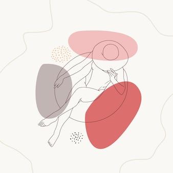 Donna disegnata a mano che si rilassa usando un galleggiante in una piscina usando lo stile dell'arte al tratto