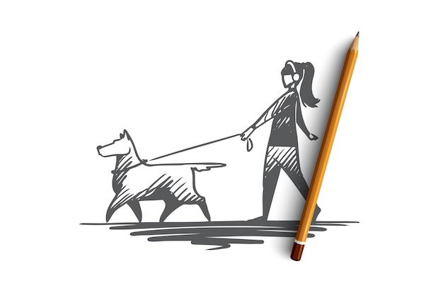 Donna disegnata a mano che cammina con il suo schizzo di concetto di cane