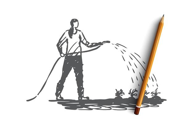 Fiori d'innaffiatura della donna disegnata a mano nello schizzo di concetto del giardino
