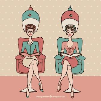 Donne disegnati a mano del parrucchiere