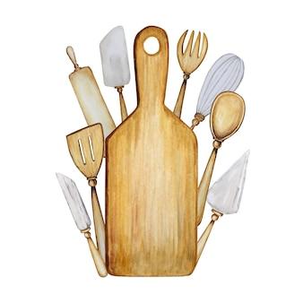 Set di accessori da cucina in legno disegnati a mano per l'illustrazione dell'acquerello di cottura.