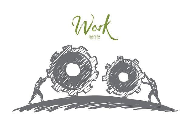 Schizzo di concetto di lavoro disegnato a mano