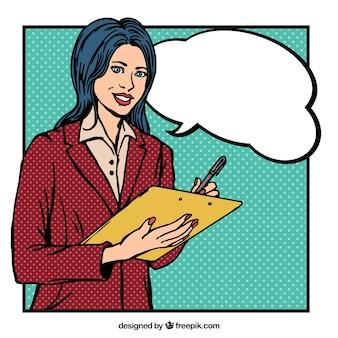 Disegnata a mano lavoratore donna in stile fumetto