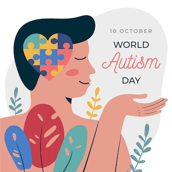Illustrazione disegnata a mano di giorno di consapevolezza dell'autismo del mondo