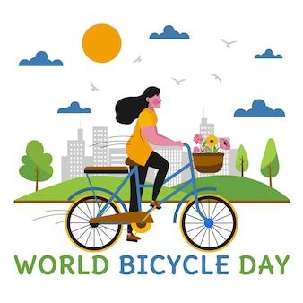 Illustrazione disegnata a mano della giornata mondiale della bicicletta