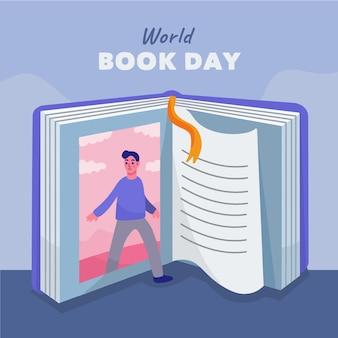 Carta da parati disegnata a mano di giorno del libro del mondo con il libro aperto