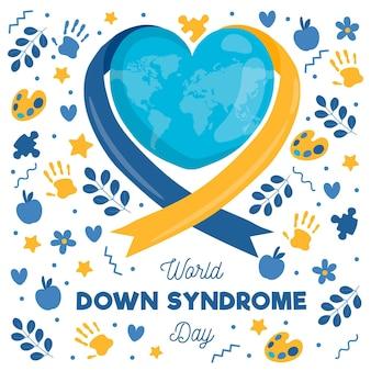 Illustrazione disegnata a mano della giornata mondiale della sindrome di down con nastro e pianeta a forma di cuore