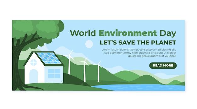 Modello di banner giornata mondiale dell'ambiente disegnato a mano