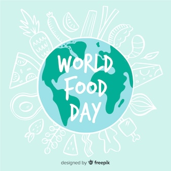 Giornata mondiale dell'alimentazione disegnata a mano Vettore Premium