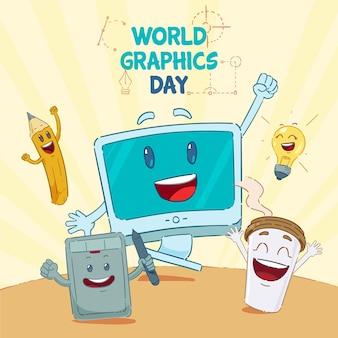 Illustrazione disegnata a mano della giornata mondiale della grafica