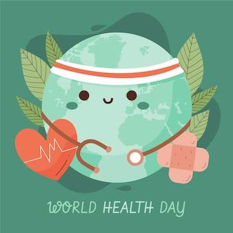 Illustrazione disegnata a mano della giornata mondiale della salute con il pianeta e lo stetoscopio