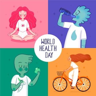 Illustrazione disegnata a mano della giornata mondiale della salute Vettore Premium