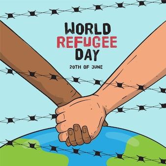Giornata mondiale del rifugiato disegnata a mano