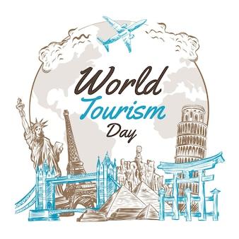 Concetto di giornata mondiale del turismo disegnato a mano