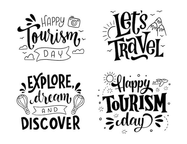 Collezione di etichette per la giornata mondiale del turismo disegnata a mano