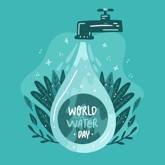 Illustrazione disegnata a mano della giornata mondiale dell'acqua