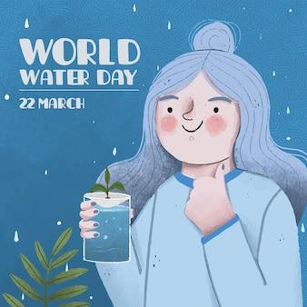Giornata mondiale dell'acqua disegnata a mano con la donna che tiene il bicchiere d'acqua e che mostra i pollici in su