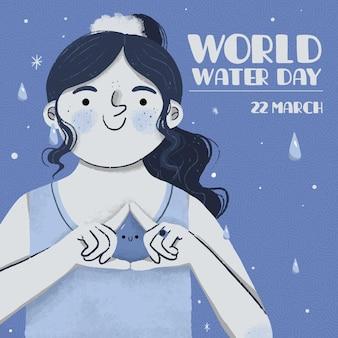 Giornata mondiale dell'acqua disegnata a mano con donna che fa gesto
