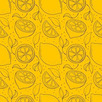 Fondo senza cuciture giallo disegnato a mano con limoni e foglie Vettore Premium