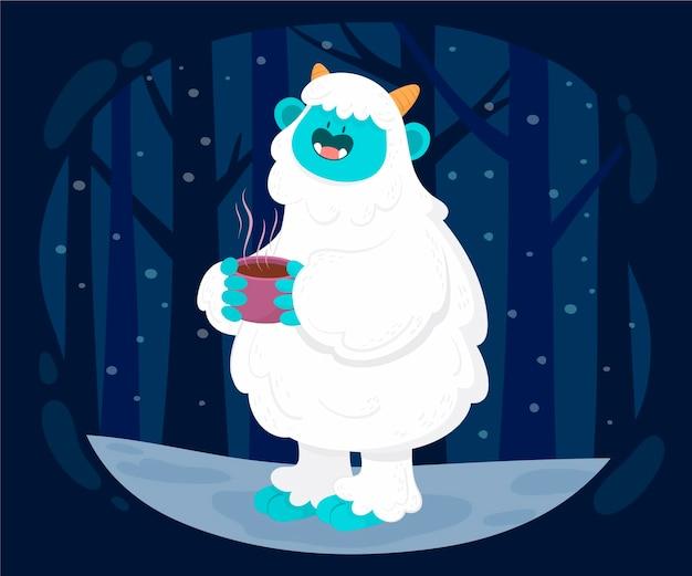 Yeti abominevole pupazzo di neve illustrazione disegnata a mano Vettore Premium