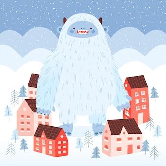 Illustrazione disegnata a mano abominevole del pupazzo di neve di yeti