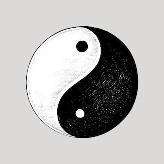 Simbolo di yin e yang disegnato a mano