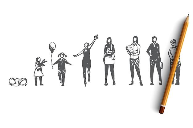 Schizzo di concetto di donne giovani e adulte disegnate a mano