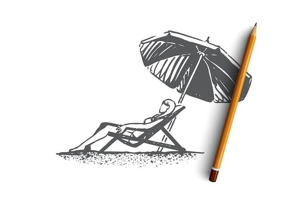 Ragazza disegnata a mano sulla spiaggia prende il sole sotto uno schizzo di concetto di ombrello