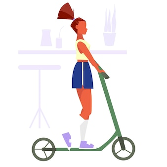 La ragazza disegnata a mano in pantaloncini corti e una maglietta guida uno scooter in estate