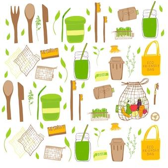Insieme di concetto di zero rifiuti disegnato a mano. nessun elemento plastico di eco life: carta riutilizzabile, bambù, legno, sacchetti di cotone in tessuto, vetro, barattoli, posate. il vettore diventa verde, logo bio o segno. modello di design organico