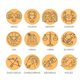 Collezione di segni zodiacali disegnati a mano