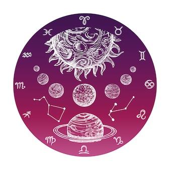 Segni zodiacali disegnati a mano e sistema planetario