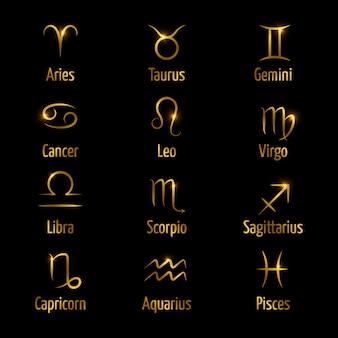 Simboli zodiacali disegnati a mano brillano effetto oro