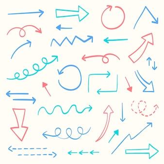 Raccolta di frecce colorate disegnate a mano