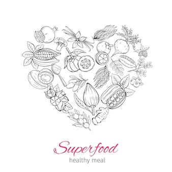 Superfood disegnato a mano