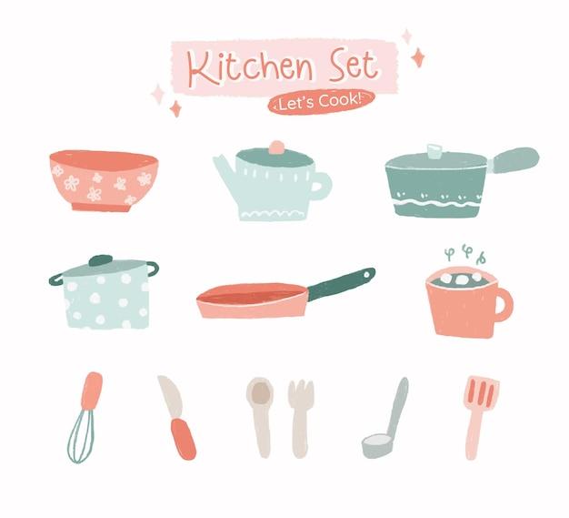 La mano disegna la collezione di utensili da cucina