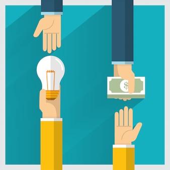 L'idea di scambio di denaro a mano e un modo forniscono vantaggi