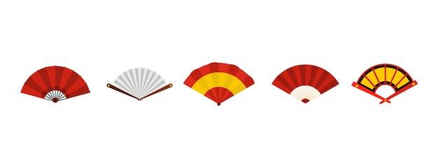 Set di icone di fan di mano. insieme piano della raccolta delle icone di vettore del ventaglio isolato