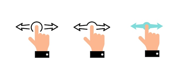 Dito della mano sinistra destra orizzontale gesti di scorrimento set di icone colorate illustrazione vettoriale eps