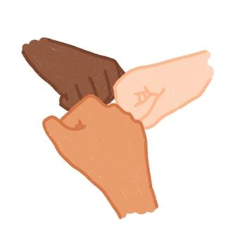 Illustrazione disegnata a mano semplice dell'urto del pugno della mano