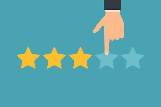 Valutazione dei clienti a mano e cinque stelle. successo aziendale cinque stelle che valutano l'opinione sulla classifica del feedback.