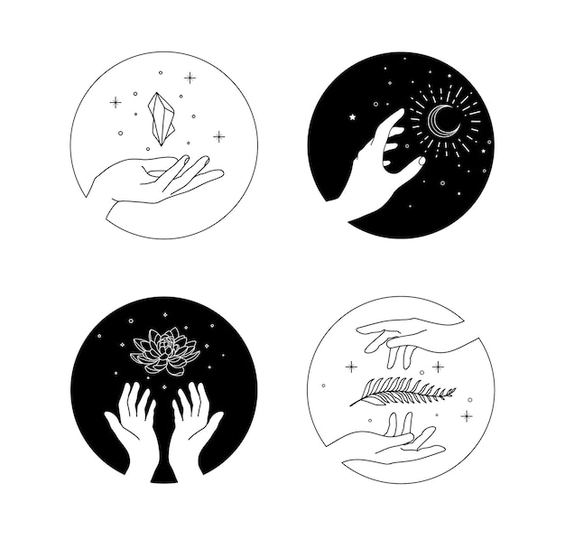 Icona floreale della mano con stile di disegno a mano