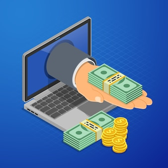 Mano dal computer portatile con soldi. reddito di internet, guadagni onilne, reddito dal concetto di gioco d'azzardo.